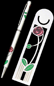 Red Rose & Leaf Bookmark and Pen Set