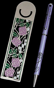 Rose & Leaf Bookmark and Lavender Pen Set