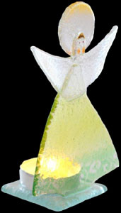 Green Fused Glass Friendship Guardian Angel Tealight