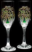 Champagne flutes in Celtic Tree Of Life 1 design