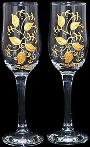 Pair of Champagne Flutes with 'Golden'