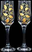 Pair of Champagne Flutes with 'Golden' in Celebration Gold Leaf design