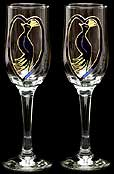 Pair of Champagne Flutes in Peacock design