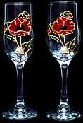 Pair of Champagne Flutes in Poppy design