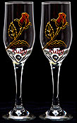 Champagne flutes in Ruby Rose design
