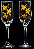Pair of Champagne Flutes in Daffodils design