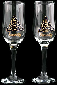 Pair of Champagne Flutes with 'Eternity'