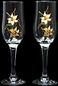 Pair of Champagne Flutes in Lily Nouveau design