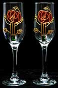 Pair of Champagne Flutes in Mackintosh Pink Rose design