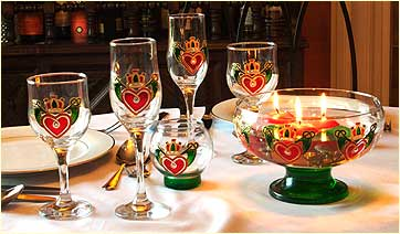 Table set with Claddagh design glass ware