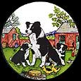 Static Window Cling in Collie Dog with Pups Design