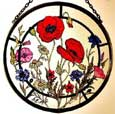 Cornfield Flowers Window Roundel in Poppy design