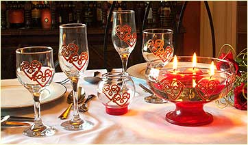 Table set with Double Love Knot glassware