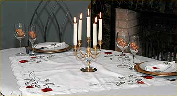 Table set with Double Love Knot design glass ware