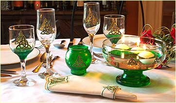 Table set with Celtic Eternity Knot design glass ware and linen