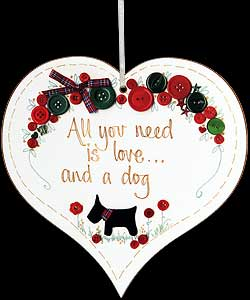 """All you need..."" Hanging Heart Plaque"