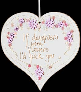 """If daughters were flowers..."" Hanging Heart Plaque"
