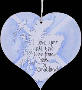 """I Love You..."" Blue Sea Hanging Heart Plaque"