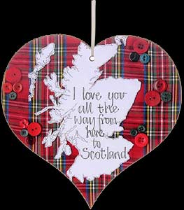 """I Love You..."" Tartan Hanging Heart Plaque"