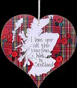 """I Love You..."" Tartan Hanging Heart Plaque in Scottish Hearts design"