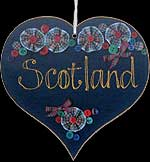 Hanging Heart Plaque in Scotland design