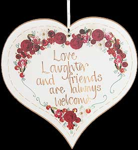 """Love laughter..."" Hanging Heart Plaque"