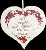 """Love laughter..."" Hanging Heart Plaque in Friend Sayings design"
