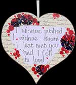 I wisnae pushed... Tartan Hanging Heart Plaque in Scottish Hearts Design