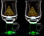 Pair of Irish Coffee Glasses in Celtic Eternity Knot design
