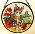 Window Roundel in Kitten and Geraniums design