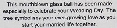 Label for the Wedding Tree of Life Glass Friendship Ball