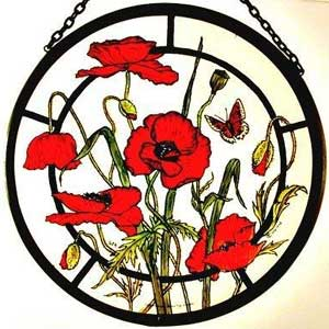 Meadow Poppies Window Roundel