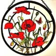 Meadow Poppies Window Roundel in Poppy design