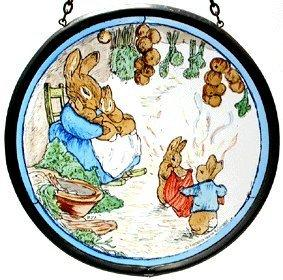 Mrs Rabbit with Flopsy Bunnies in their Burrow Window Roundel