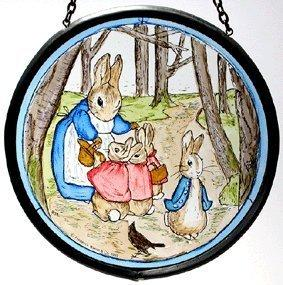 Mrs Bunny and Peter in the Woods Window Roundel