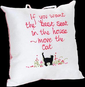 """If You want the best seat..."" Hand-painted Pillow"