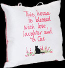 """This house is blessed..."" Hand-painted Pillow in Cat Sayings design"