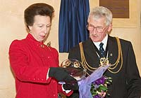 Princess Anne with the Celtic Glass bowl