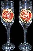 Pair of Champagne Flutes in Mackintosh Rose design