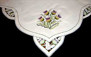 Large Lilac Thistle Table Cloth in Scottish Thistle Design