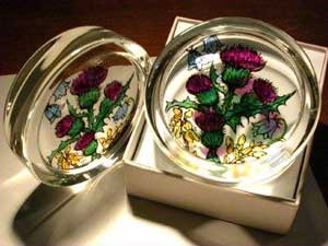 Scottish Thistles and Flowers Paperweight